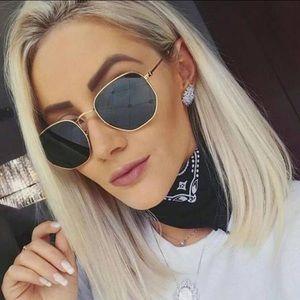 Sunglasses Hexagon Shape Gold Sunglasses